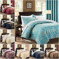 Quilted Jacquard Bedspread Bedding Set & Eyelet Semi Blackout Curtains + Tieback