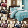 Quilted Jacquard Bedspread Bedding Set & Eyelet Semi Blackout Curtains + Tieback