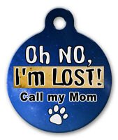 Personalized Pet ID Tags for Dog & Cat, Custom Cute BLUE PINK Paw, I'M LOST #182