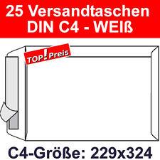 25 Versandtaschen ohne Fenster, DIN C4, Haftklebung, Weiß, 90g, Briefumschläge