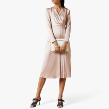 AUTH Ted Baker NEENHA Long sleeved Belted Pleated dress Light Pink 0,1,3,5