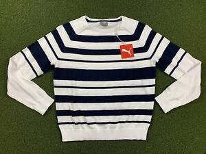 Puma Women's Crewneck Stripe Ribbon Sweater Navy Blue White SZ S ( 599268 03 )