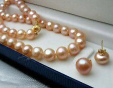 AAA 8-9MM Pink Genuine Natural Akoya Cultured Pearl Necklace 18'' + Earring Set