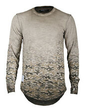 Men's Long Sleeve Camouflage Longline Hipster Round Bottom T-shirts BROWN