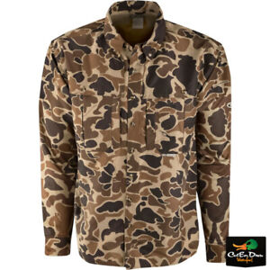 DRAKE WATERFOWL EST WINGSHOOTER'S SHIRT LONG SLEEVE OLD SCHOOL CAMO
