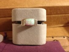 Fire Opal Ring Size 10 Sterling Silver Modernist Band 925 Artisan Stepped