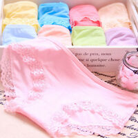 Women Girl Soft Cotton Underpants Lingerie Briefs Hipster Lace Underwear Panties