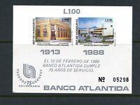 C924  Honduras   1988  Banco  Atlantida  IMPERF  sheet      MNH