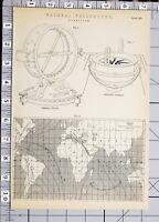 1886 Stampa Naturale Filosofia Magnestism Immersione Ago Azimuth Bussola ~ Chart