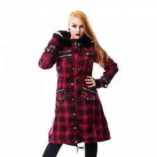 Poizen Industries Dare Coat Ladies Red Check Gothic Vampire Faux Hood Zip Size 16 (extra Large)