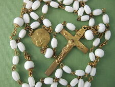 Vintage Catholic Rosary  St. JOSEPH & Child Jesus medal White glass beads