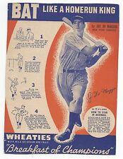 1937 Wheaties Cereal Panel Series 6 Baseball, Joe DiMaggio New York Yankees VGEX