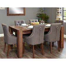 Shiro solid dark wood furniture large dining table and six luxury chairs set