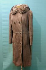 Traumhafter Lamm Fell Mantel Gr 46/XL vintage shearling Pelz echt Leder braun