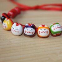 Adjustable Animal Lucky Handmade Rope Jewelry Cat Beads Ceramic Bracelet