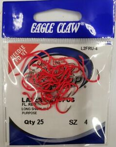 Eagle Claw Lazer Sharp Painted Octopus Hook Needle Point Red 25/pack CHOOSE SIZE