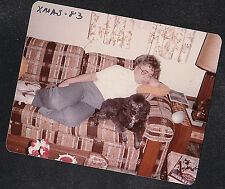 Vintage Photograph Woman Sound Asleep on Couch w/ Poodle Puppy Dog