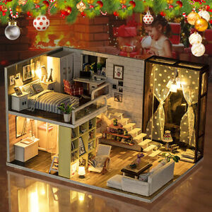 AU DIY Miniature Wooden Doll House Dollhouse Wooden Furniture Gift w/ LED Light