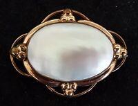 Gilt metal & mother of pearl vintage Victorian antique brooch