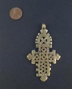 Ethiopian Coptic Cross Pendant Large 85mm African Brass Brass Large Hole