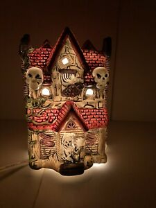 "Vintage Ceramic Light Up Haunted House 5"" X 4"" X 3"" Skulls Reaper Pumpkin RIP"