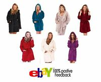 Womens Coral Fleece Bath Robe Ladies Super Soft Warm Hooded Dressing Gown