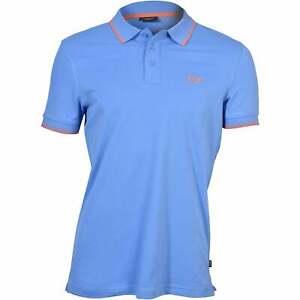 Joop! Jeans Contrast Collar Cotton Jersey Men's Polo Shirt, Summer Blue