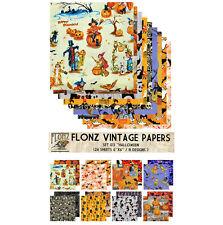 """Paper 24sh 6""""x6"""" # Vintage Halloween Witch # FLONZ Craft Scrapbooking 013"""