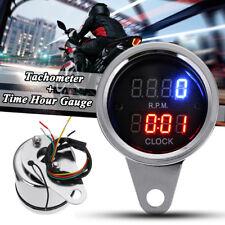 Motorcycle LED Dual Digital Tacho Tachometer Clock Hour Gauge Meter Universal