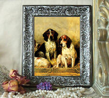Emms Two Fox Hounds Dog Horse Pony Print Vintage Style Framed 11X13