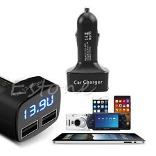 4 In 1 DC 5V 3.1A Dual USB Car Charger Adapter Voltage Tester For iPhone Black