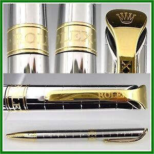 ROLEX Watch Official Novelty Ballpoint Pen Silver × Gold Color with Box from JP