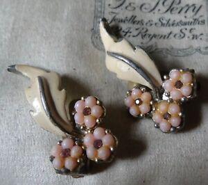 vintage pink rhinestone lucite enamel flower clip on earrings 1950s -X213