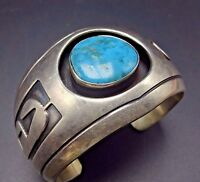 Vintage NAVAJO Sterling Silver Overlay & TURQUOISE Shadowbox Cuff BRACELET