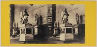 Firenze Loggia Dei Lanzi Italia Foto Stereo PL53L3n16 Vintage Albumina c1870