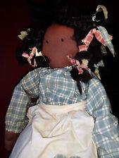 """22"""" Vintage Handmade African-American Girl Rag Doll"""