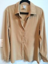 ALLISON TAYLOR STRETCH SOFT BUTTON DOWN TAN BLOUSE SHIRT  TOP  Sz M