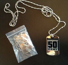 50 cent Necklace Buy 1 Get 1 FREE Dog Tag Pendant Silver Etched Chain 50cent Rap