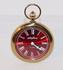Vintage SETH THOMAS Oversized Pocket Watch Travel Alarm Clock Germany RED FACE