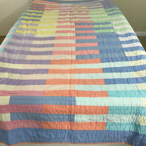 """Match Reversible Twin Bedspread Geometric Squares Lines Circles Blanket 82""""x62"""""""
