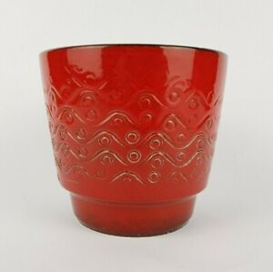 Vintage 60s-70s WEST GERMAN POTTERY Red Relief Planter / Flower Pot Fat Lava