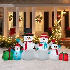 9FT Christmas Inflatable Snowman Family Light Airblown Warm Yard Outdoor Decor