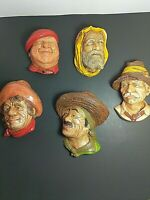 Chalkware Heads - Lot of 5 Wall Mountable Vintage - BOSSON?