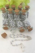 12PC-Mini Glass Bottle Cork Beach Wedding Favors Rosary Keepsake Recuerdos Boda