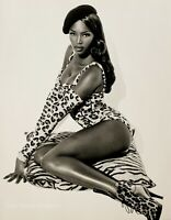 1991 HERB RITTS Super Model NAOMI CAMPBELL Beret Leopard Fashion Photo Engraving