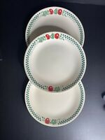 "Set of 3  Corelle FARM FRESH 10 1/4"" DINNER PLATE Green Gingham Apples"