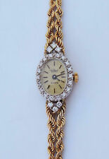 Paul Maret Quartz 14k Gold/Genuine Diamond Ladies Watch -Two Row Rope Chain Band
