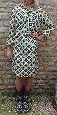 Vintage 60s Kitty Copeland Retro Green Print Pussy Bow Dress XL