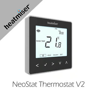 Heatmiser NeoStat Programmable Thermostat Black Works with Apple Home with Hub
