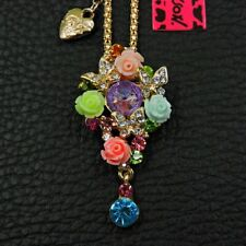 Betsey Johnson Crystal Butterfly Garden Pin Pendant Gold Necklace Free Gift Bag